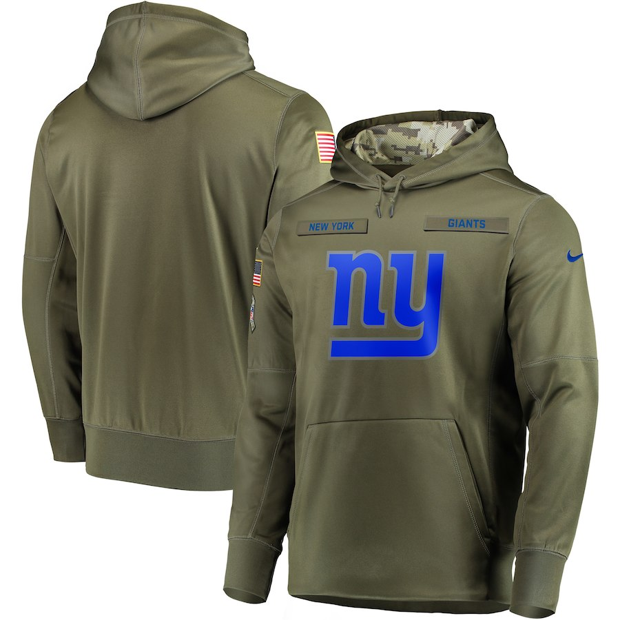 Men New York Giants Nike Olive Salute To Service KO Performance Hoodie Green