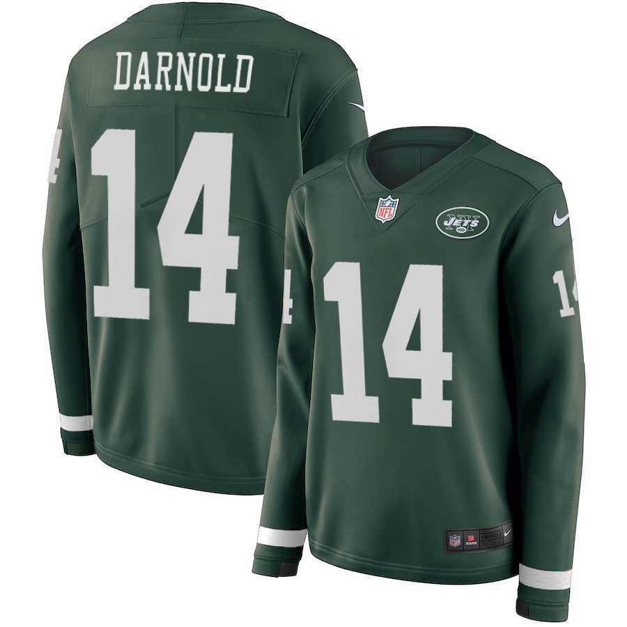 Men New York Jets 14 Darnold green Limited NFL Nike Therma Long Sleeve Jersey
