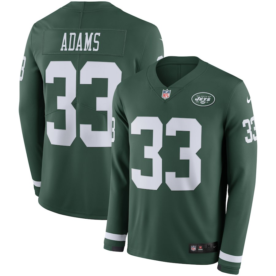 Men New York Jets 33 Adams green Limited NFL Nike Therma Long Sleeve Jersey