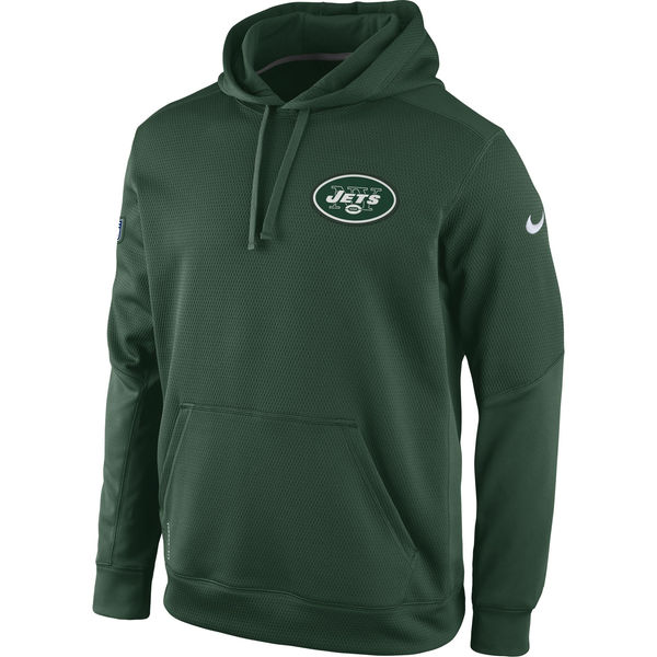 Men New York Jets Nike KO Chain Fleece Pullover Performance Hoodie Green