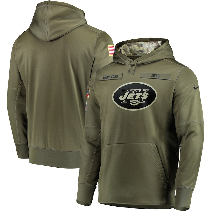 Men New York Jets Nike Olive Salute To Service KO Performance Hoodie Green