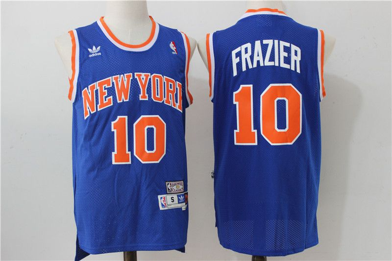 Men New York Knicks 10 Frazier Blue Adidas NBA Jersey