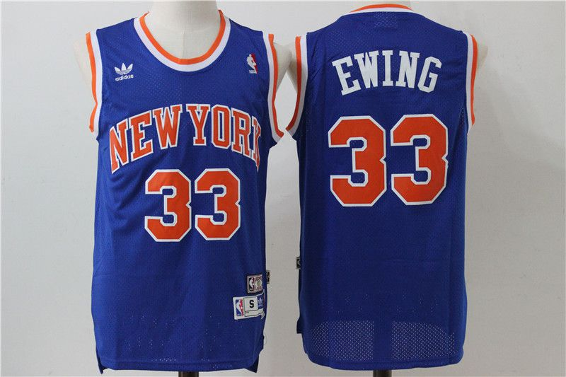 Men New York Knicks 33 Ewing Blue Adidas NBA Jersey