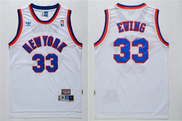 Men New York Knicks 33 Ewing White Throwback Adidas NBA Jersey