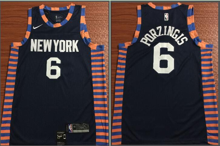 Men New York Knicks 6 Porzingis Black City Edition Game Nike NBA Jerseys