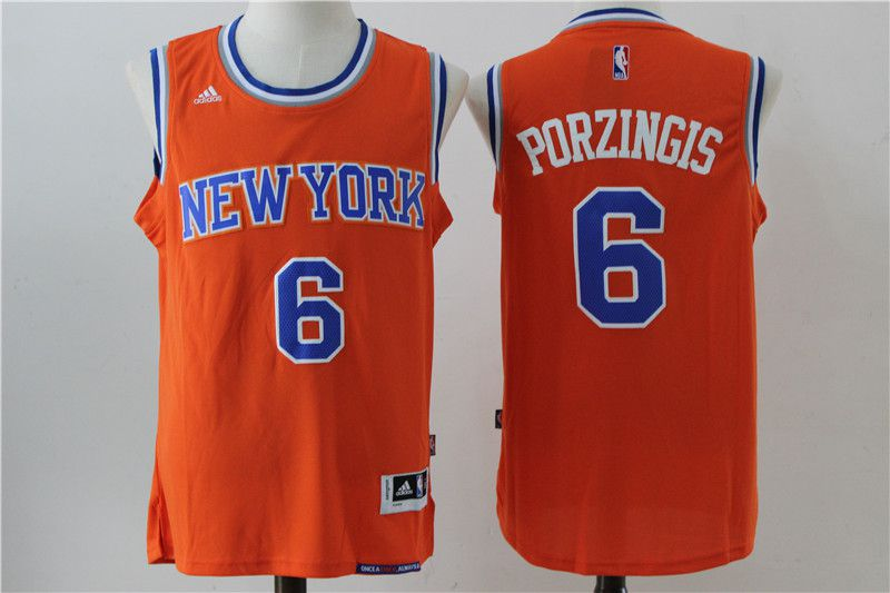 Men New York Knicks 6 Porzingis Orange Adidas NBA Jersey