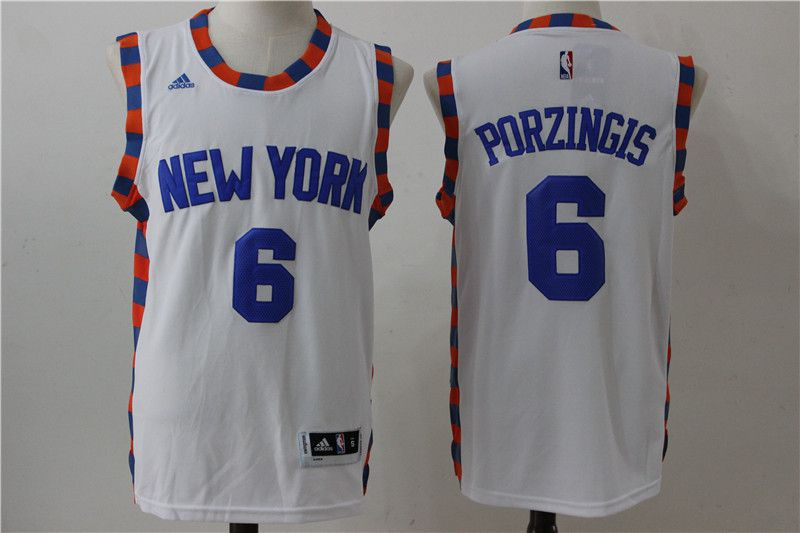 Men New York Knicks 6 Porzingis White Adidas NBA Jersey