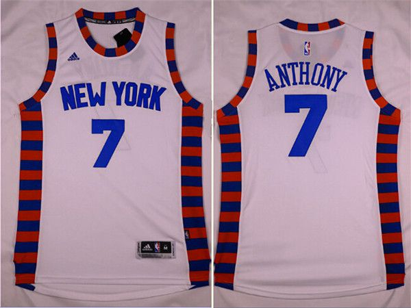 Men New York Knicks 7 Anthony White Adidas NBA Jersey