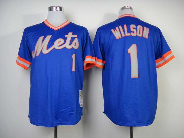 Men New York Mets 1 Wilson Blue Throwback MLB Jerseys
