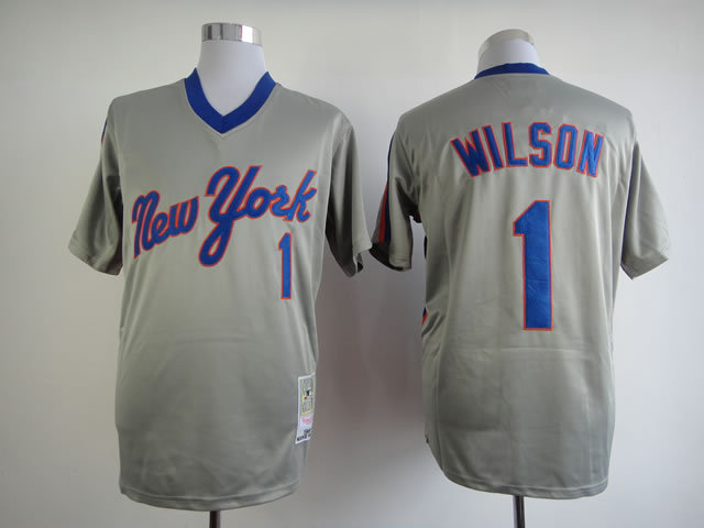 Men New York Mets 1 Wilson Grey Throwback MLB Jerseys