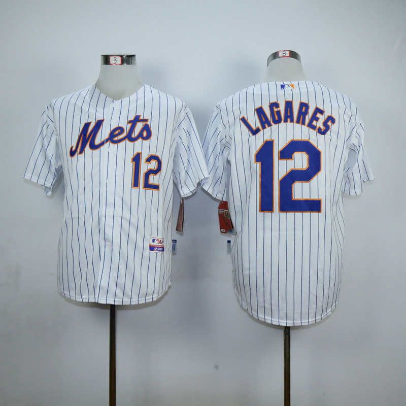Men New York Mets 12 Lagares White MLB Jerseys