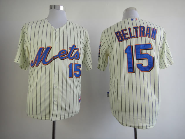 Men New York Mets 15 Tebow Cream MLB Jerseys