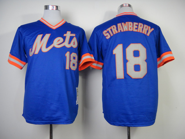 Men New York Mets 18 Strawberry Blue Throwback 1983 MLB Jerseys