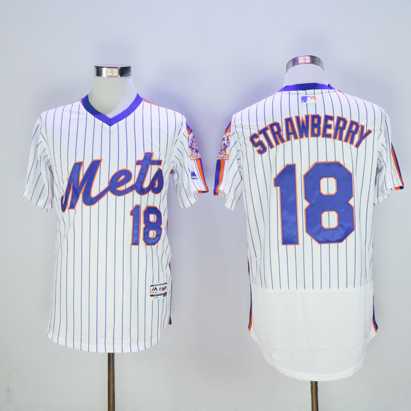 Men New York Mets 18 Strawberry White Throwback Elite MLB Jerseys