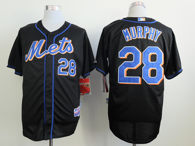 Men New York Mets 28 Murphy Black MLB Jerseys