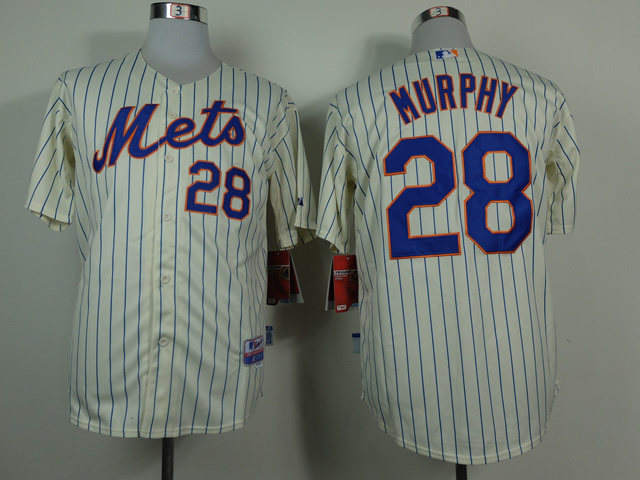 Men New York Mets 28 Murphy Cream MLB Jerseys