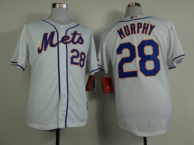 Men New York Mets 28 Murphy White MLB Jerseys
