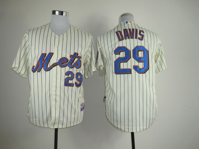 Men New York Mets 29 Davis Cream MLB Jerseys
