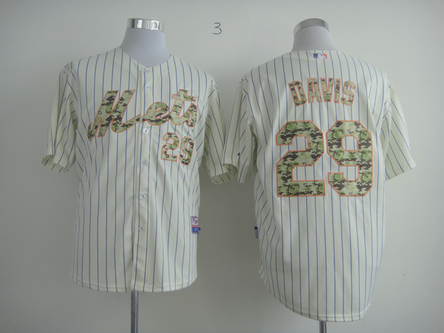 Men New York Mets 29 Davis White Camo MLB Jerseys
