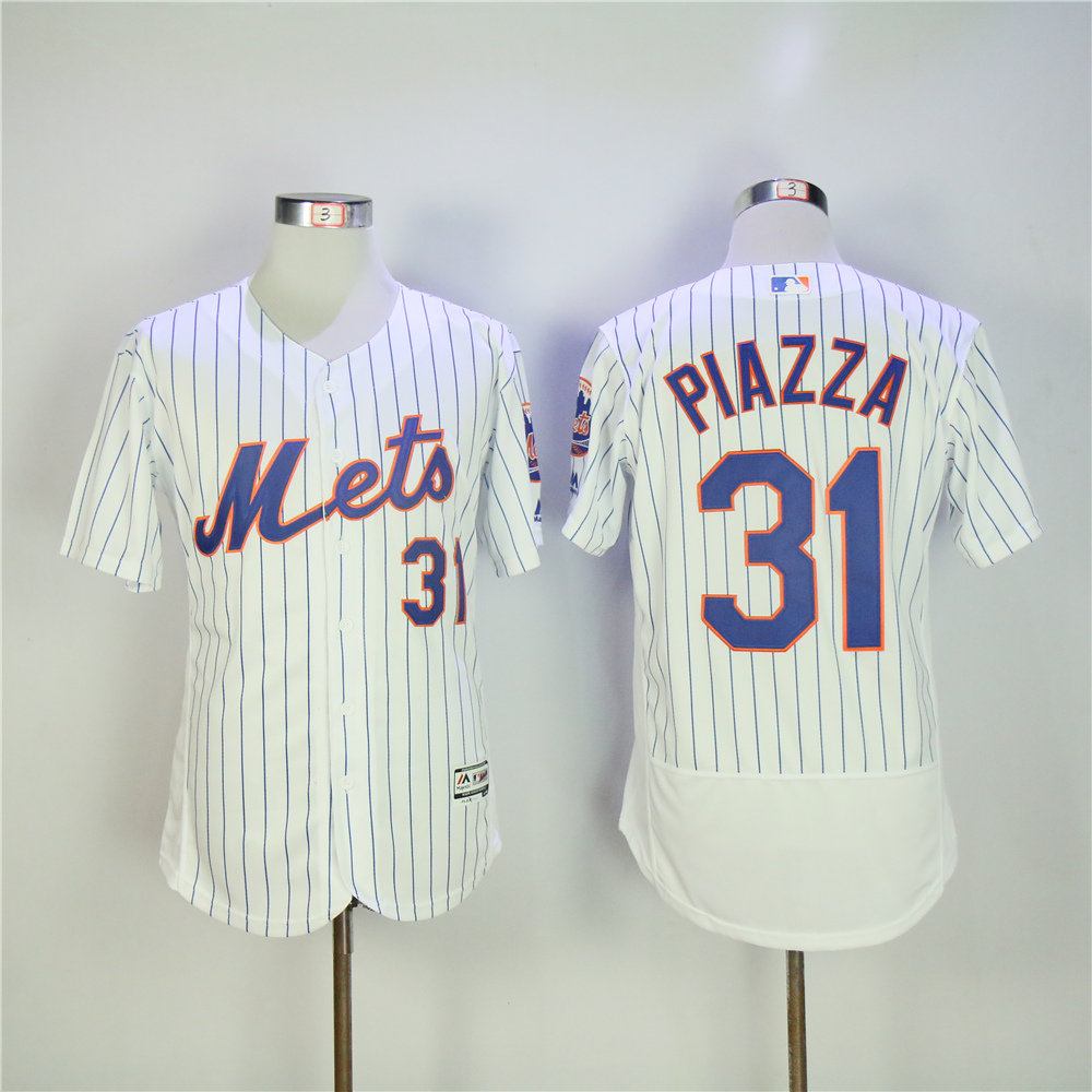 Men New York Mets 31 Piazza White Elite MLB Jerseys
