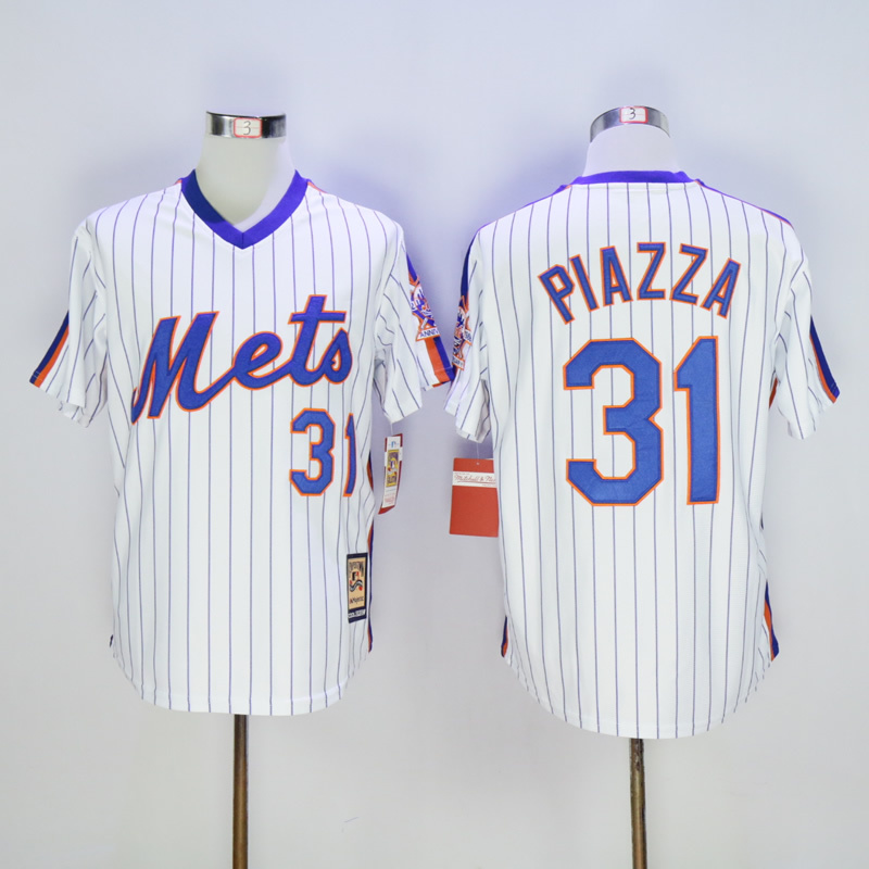 Men New York Mets 31 Piazza White Throwback Game MLB Jerseys