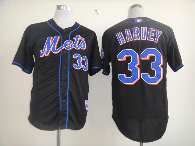 Men New York Mets 33 Harvey Black MLB Jerseys