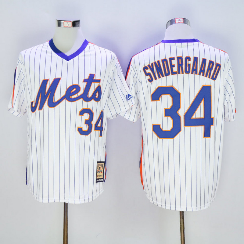 Men New York Mets 34 Syndergaard Blue Throwback Game MLB Jerseys