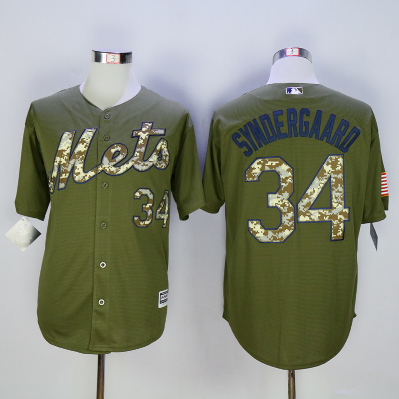 Men New York Mets 34 Syndergaard Green MLB Jerseys