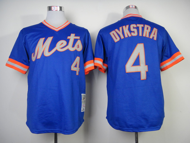 Men New York Mets 4 Dykstra Blue Throwback MLB Jerseys