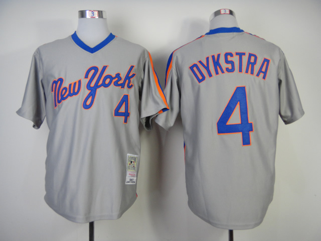 Men New York Mets 4 Dykstra Grey Throwback MLB Jerseys
