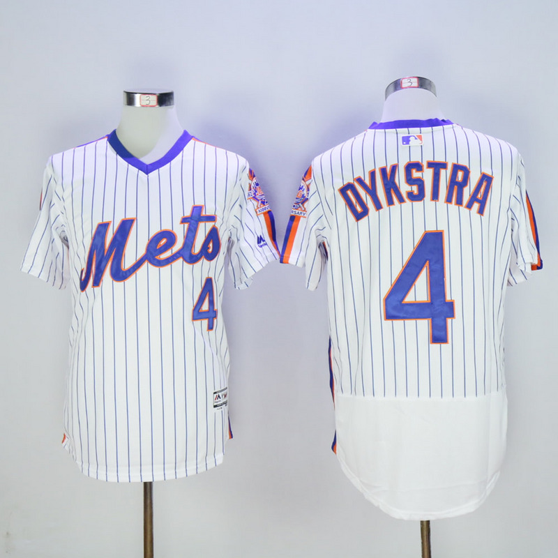 Men New York Mets 4 Dykstra White Throwback Elite MLB Jerseys
