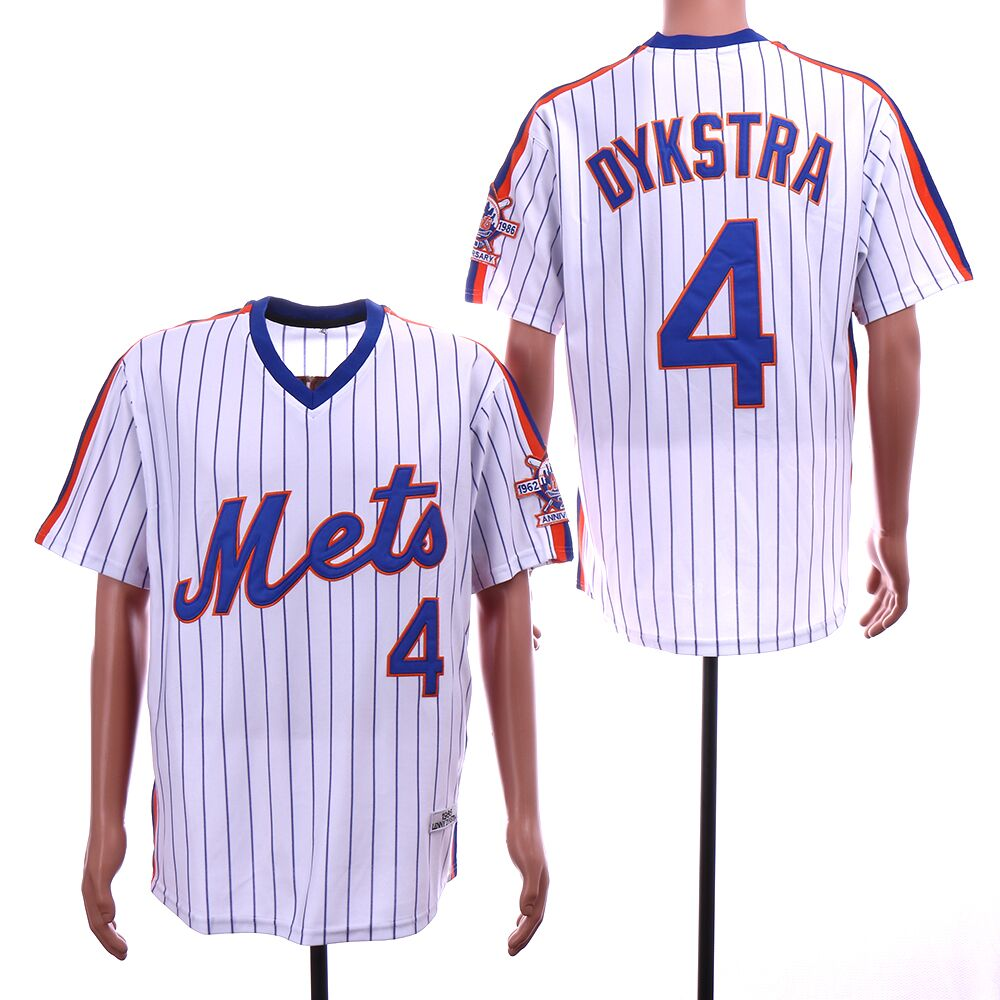 Men New York Mets 4 Dykstra White stripe Throwback MLB Jerseys