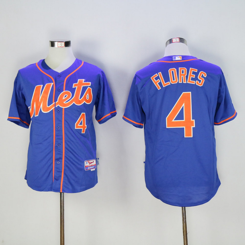 Men New York Mets 4 Flores Blue MLB Jerseys
