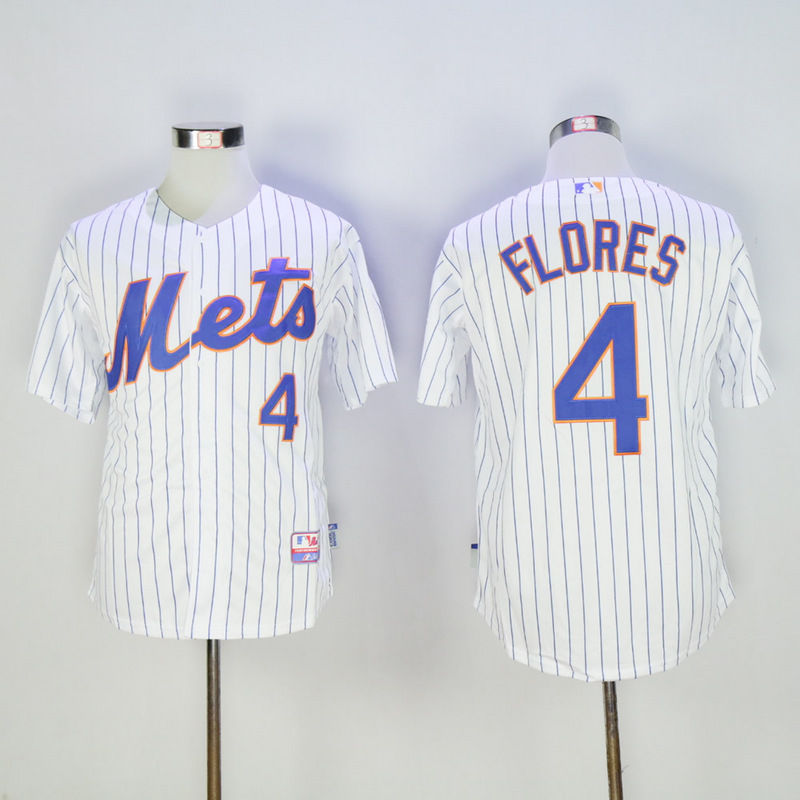 Men New York Mets 4 Flores White MLB Jerseys