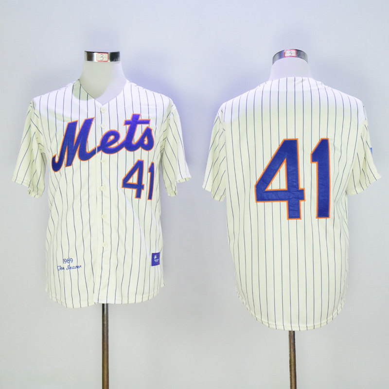 Men New York Mets 41 Seaver Cream Stripe Throwback MLB Jerseys