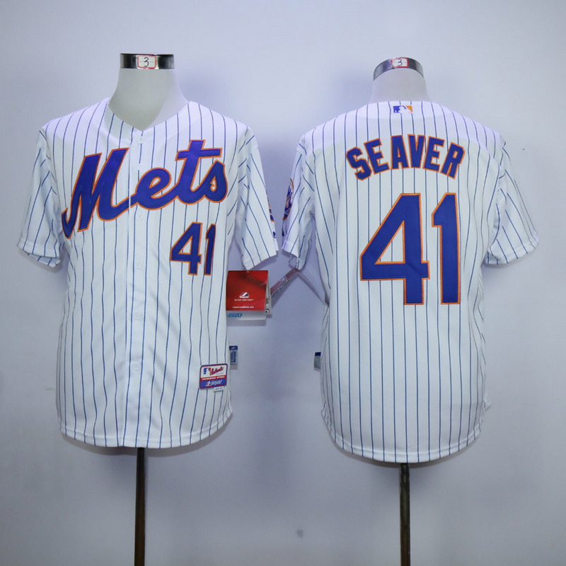 Men New York Mets 41 Seaver White Stripe MLB Jerseys