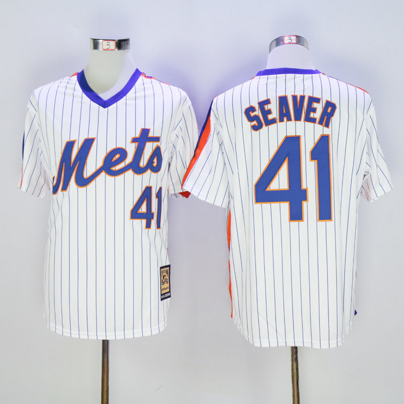 Men New York Mets 41 Seaver White Stripe Throwback Game MLB Jerseys