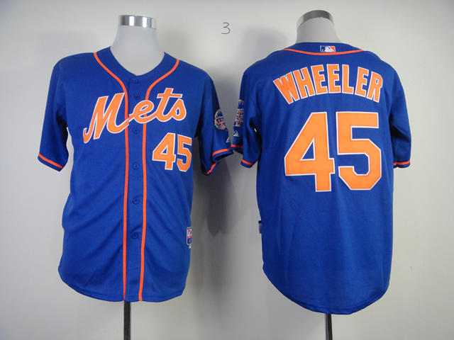 Men New York Mets 45 Wheeler Blue MLB Jerseys