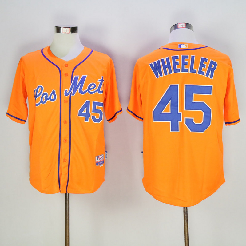 Men New York Mets 45 Wheeler Orange MLB Jerseys