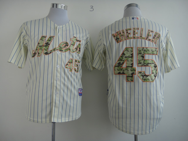 Men New York Mets 45 Wheeler White Camo MLB Jerseys