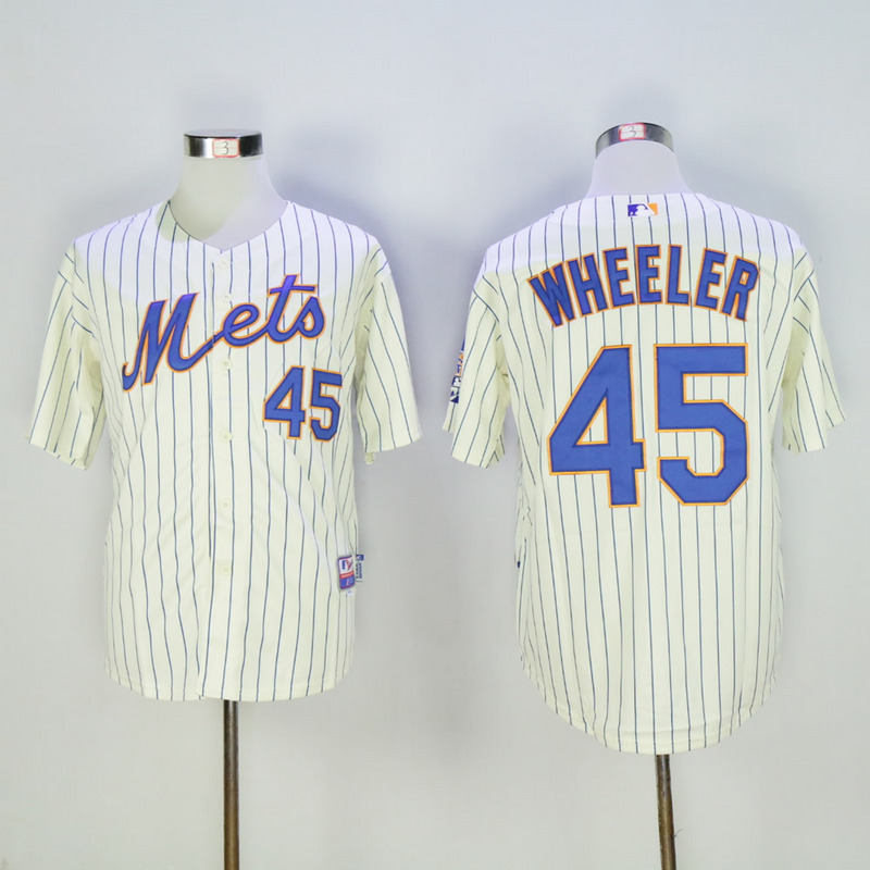 Men New York Mets 45 Wheeler White Stripe MLB Jerseys