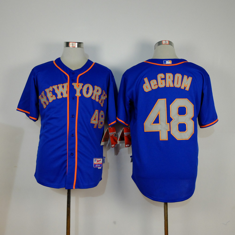 Men New York Mets 48 Degrom Blue MLB Jerseys