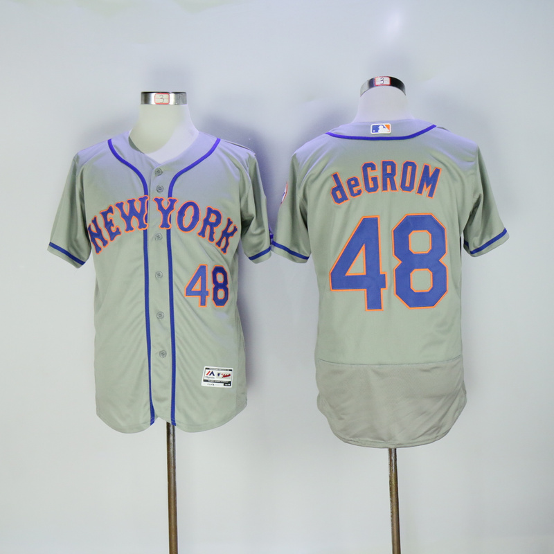 Men New York Mets 48 Degrom Grey Elite MLB Jerseys