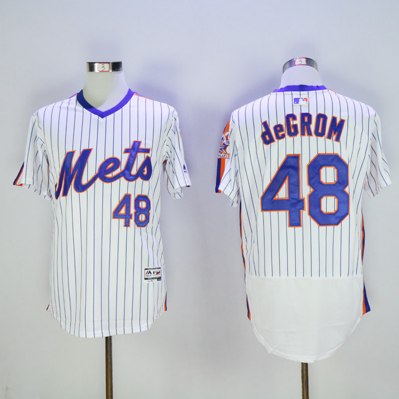 Men New York Mets 48 Degrom White Throwback Elite MLB Jerseys