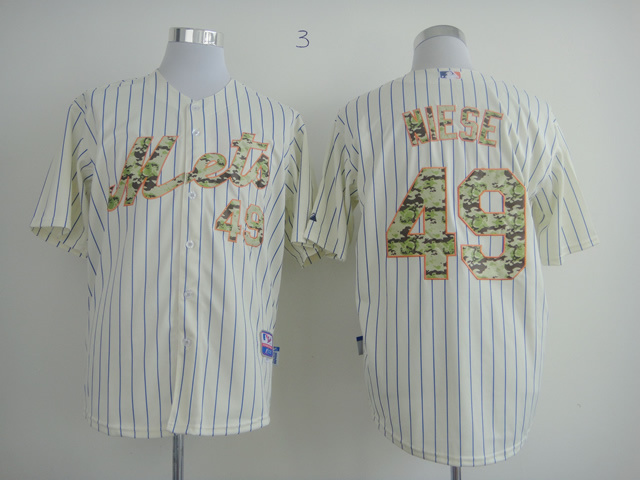 Men New York Mets 49 Hiese White Stripe MLB Jerseys