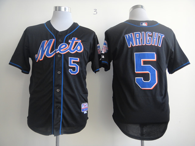 Men New York Mets 5 Wright Black MLB Jerseys