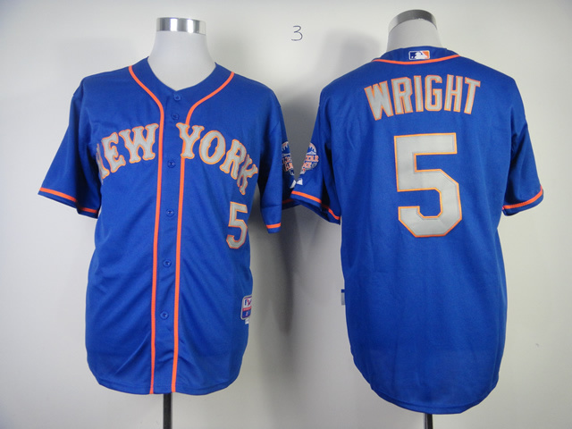 Men New York Mets 5 Wright Blue MLB Jerseys