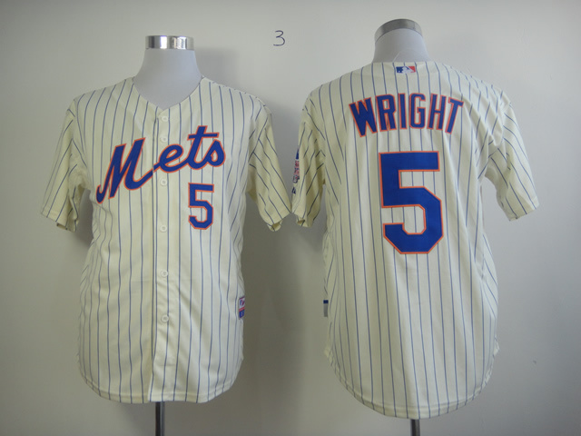 Men New York Mets 5 Wright Cream MLB Jerseys