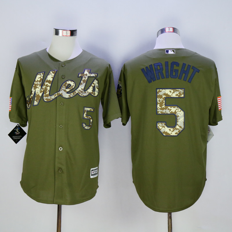 Men New York Mets 5 Wright Green MLB Jerseys