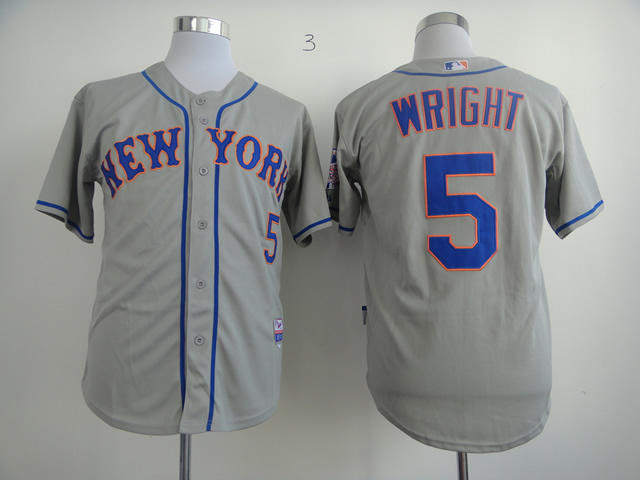 Men New York Mets 5 Wright Grey MLB Jerseys